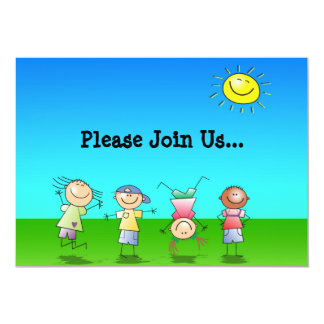 Kids Playing Outdoors on a Sunny Day 5x7 Paper Invitation Card