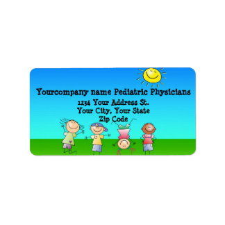 Kids Playing Outdoors on a Sunny Day Address Label