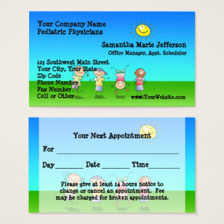 Kids Playing Outdoors on a Sunny Day Appointment Business Card