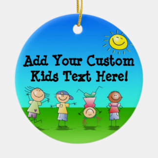 Kids Playing Outdoors on a Sunny Day Double-Sided Ceramic Round Christmas Ornament