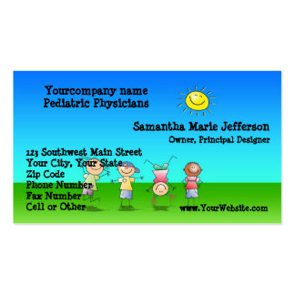 Kids Playing Outdoors on a Sunny Day Double-Sided Standard Business Cards (Pack Of 100)