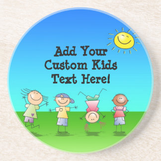 Kids Playing Outdoors on a Sunny Day Drink Coasters