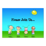 """Kids Playing Outdoors on a Sunny Day 5"""" X 7"""" Invitation Card"""