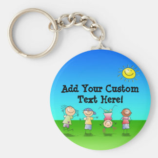 Kids Playing Outdoors on a Sunny Day Keychain