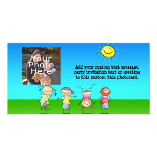Kids Playing Outdoors on a Sunny Day Personalized Photo Card