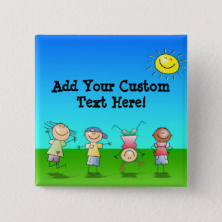 Kids Playing Outdoors on a Sunny Day Pinback Button
