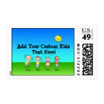Kids Playing Outdoors on a Sunny Day Postage Stamp