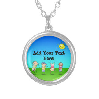 Kids Playing Outdoors on a Sunny Day Round Pendant Necklace