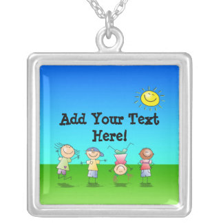 Kids Playing Outdoors on a Sunny Day Square Pendant Necklace