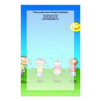 Kids Playing Outdoors on a Sunny Day Stationery
