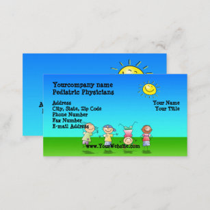 kids playing outdoors sunny day business cards - Kids Business Cards