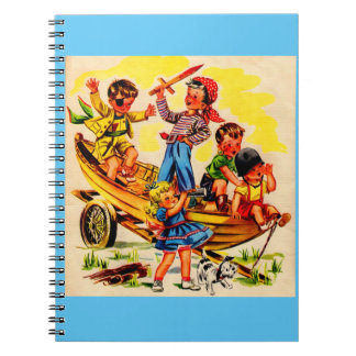 kids playing pirate spiral notebook