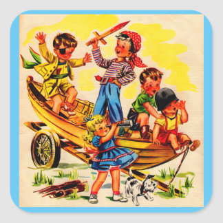 kids playing pirate square sticker