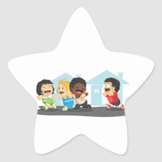 Kids Playing Tag Star Sticker