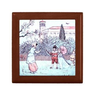 Kids playing vintage art trinket box