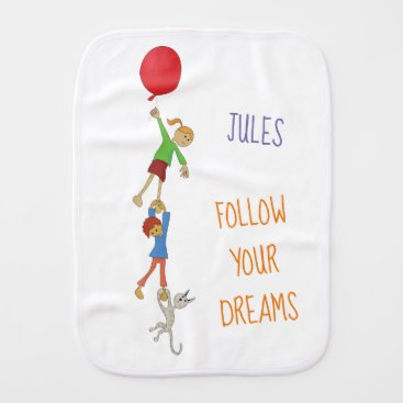 Kids playing with balloons baby burp cloth