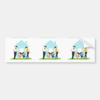Kids Playing with Father & Mother Car Bumper Sticker