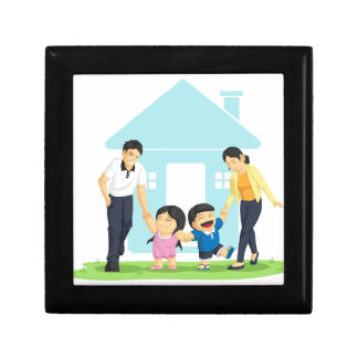 Kids Playing with Father & Mother Keepsake Boxes