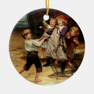 Kids Playing with fishing net beach painting Ceramic Ornament