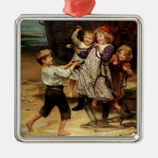 Kids Playing with fishing net beach painting Metal Ornament