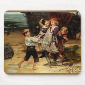 Kids Playing with fishing net beach painting Mousepads