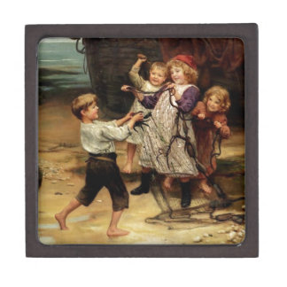 Kids Playing with fishing net beach painting Premium Jewelry Boxes