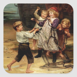 Kids Playing with fishing net beach painting Square Sticker