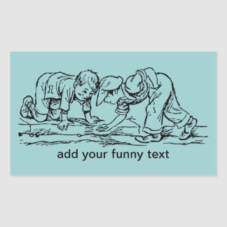 Kids Playing with Marbles - Add Your Text Rectangular Sticker