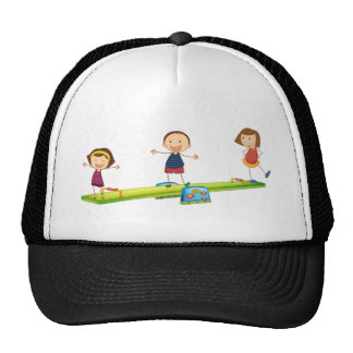 Kids playing with the seesaw trucker hat