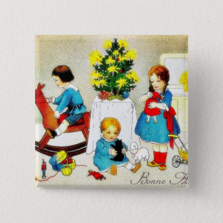 Kids playing with toys and christmas tree button