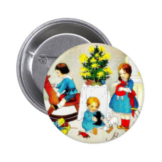 Kids playing with toys and christmas tree pinback button