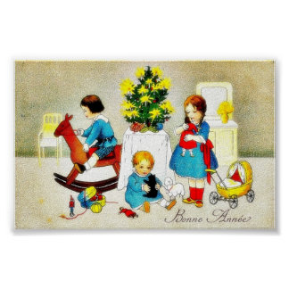 Kids playing with toys and christmas tree poster
