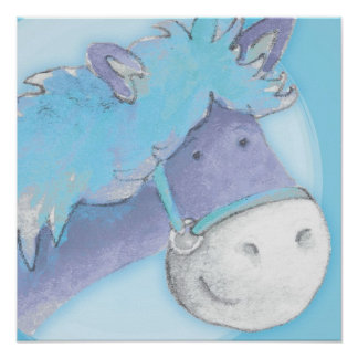 Kids pony art baby blue square poster print
