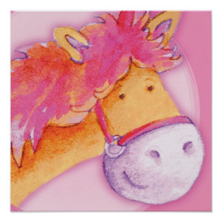 Kids pony art pink & orange square poster print