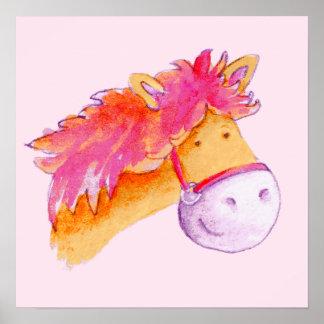 Kids pony art pink orange square poster print