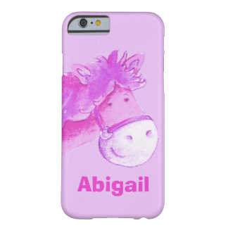 Kids pony purple girls custom name case barely there iPhone 6 case
