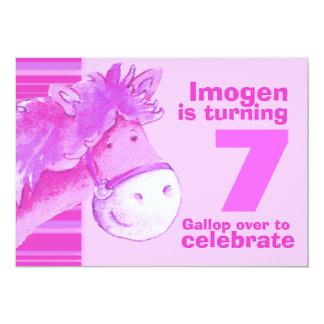 Kids pony treking 7 birthday pink birthday invite