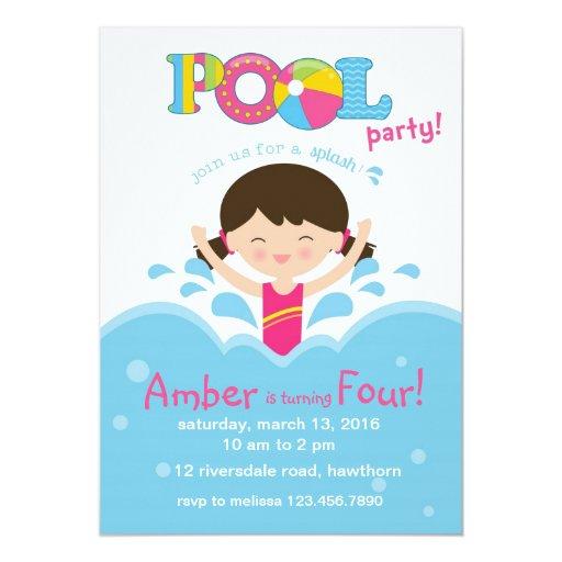 kids pool party invitation    pool invitation
