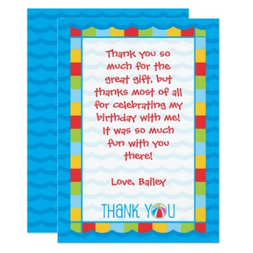 Beach Themed Kids Pool Party Thank You Card