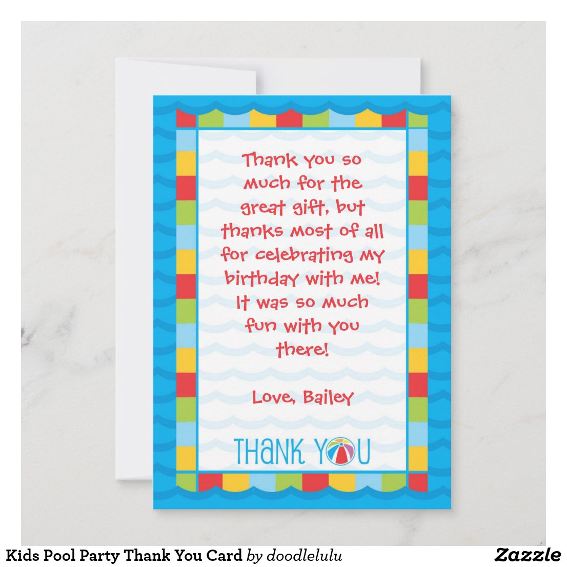 Kids Pool Party Thank You Card