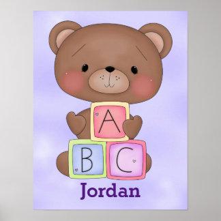 Kid's Poster Cute Baby Teddy Bear