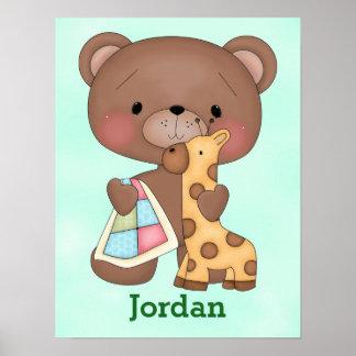 Kid's Poster Cute Baby Teddy Bear Giraffe