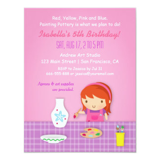 "Kids Pottery Painting Arts Birthday Party 4.25"" X 5.5"" Invitation Card"
