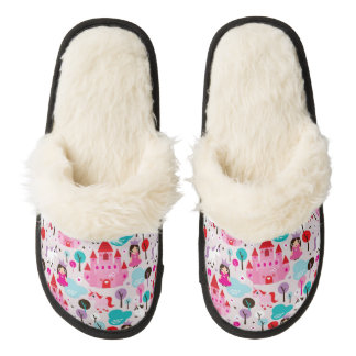kids princess castle and unicorn pair of fuzzy slippers