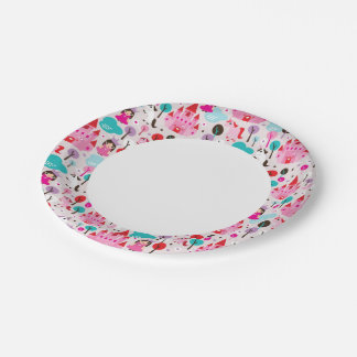 kids princess castle and unicorn paper plate