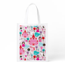 kids princess castle and unicorn reusable grocery bag