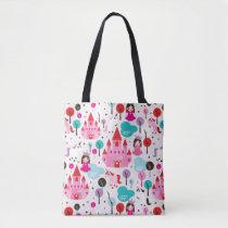 kids princess castle and unicorn tote bag