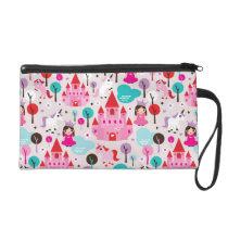 kids princess castle and unicorn wristlet purse
