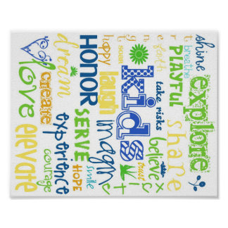 Kids Printable Blue and Green on Poster