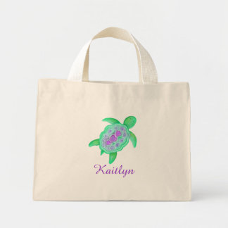 Kids purple and green turtle hearts name bag